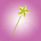 Magic wand. Colorful illustration with magic wand on pink background for your design Royalty Free Stock Image