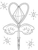 Magic wand coloring page Royalty Free Stock Photography