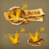 Magic wand and crown icons stock illustration