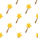 Magic Wand Flat Icon Seamless Pattern. A seamless pattern with magic wand flat icon with stars, isolated on white background. Useful also as design element for Royalty Free Stock Photo