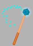 Magic wand  on gray background. Magic wand with sparks on gray background Royalty Free Stock Photography