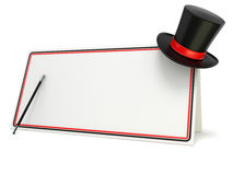 Magic wand and hat on blank board with black and red border. 3D render Royalty Free Stock Photos