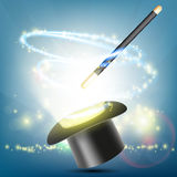 Magic wand and hat on a bright background. Focus and illusion. S. Tock Vector illustration Stock Image