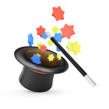 Magic wand and hat with colored stars. On white background. 3d rendering illustration Stock Photography