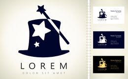 Magic wand and hat logo. Logo design vector illustration Royalty Free Stock Photography