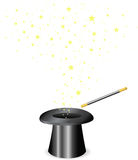 Magic wand and Hat. Vector - Magic wand and Hat Royalty Free Stock Photos