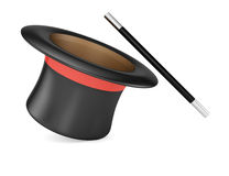 Magic wand and hat. On white background. 3d rendering illustration Royalty Free Stock Images