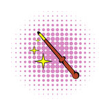 Magic wand icon, comics style. Magic wand icon in comics style on a white background Royalty Free Stock Image