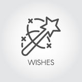 Magic wand icon. Flat simple label drawn in line art style. Simple logo or button. Vector contour pictograph Royalty Free Stock Photography