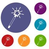 Magic wand icons set Royalty Free Stock Image