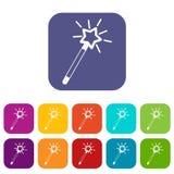 Magic wand icons set Royalty Free Stock Photo