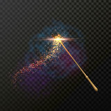 Magic wand with magical sparkle glitter light trail trace Royalty Free Stock Images