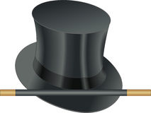 Magic wand. Props of illusionist, hat and magic wand Stock Photos