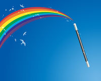 Magic wand and rainbow Stock Images