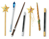Magic Wand Realistic Set. Collection of magic wands of various shapes with stars and jewel realistic vector illustration Stock Images