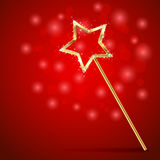 Magic wand on red background Royalty Free Stock Images