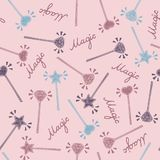 Magic wand seamless pattern in hand drawing style. Colorful vector illustration vector illustration