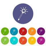 Magic wand set icons. In different colors isolated on white background Stock Image