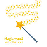 Magic wand with a star. Trace of gold dust. Magic abstract background isolated on white. Miracle and magic. Vector illustration flat design Royalty Free Stock Photo