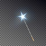 Magic wand with star vector. Transparent miracle stick with light tail isolated on dark background. Wizards magic wand effect. Magician fairy stick lights vector illustration