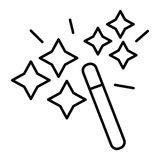 Magic wand thin line icon. Spell vector illustration isolated on white. Miracle outline style design, designed for web. And app. Eps 10 stock illustration