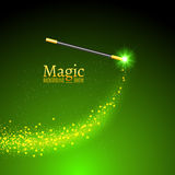 Magic wand vector background. Miracle magician wand with sparkle lights.  Stock Image