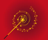 Magic Wand. Vector illustration of a magic wand with stars on a red background Royalty Free Stock Photography