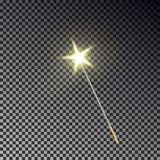 Magic wand vector. Transparent miracle stick with glow yellow light tail isolated on dark background. Wizards magic wand, star dust effect. Magician fairy vector illustration