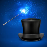 Magic wand and vintage top hat vector entertainment christmas background. Magician wand and magic black hat illustration Royalty Free Stock Photography