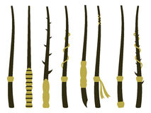 Magic wands. Magic and magical objects. Wizard tool. Royalty Free Stock Images