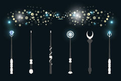 Magic wands. The magical glow of light flashes. Wizard tool. Stock Photo