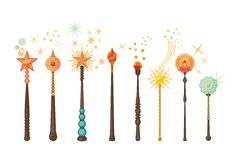 Magic Wands Set Stock Images