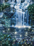 Magic Waterfall. Magic night waterfall scene and fairy lights