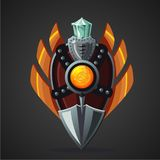 Fantasy shield. Magic weapon with crystal. Game design concept. Magic weapon with crystal. Fantasy shield. Game design concept Royalty Free Stock Photo