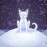 Magic white winter cat. Digital illustration. Magic white cat that love snow very much. Digital illustration Stock Photo