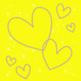 Magic white heart on a yellow background Royalty Free Stock Photos