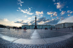 Magic white night in the Palace Square, St. Petersburg, Russia. Royalty Free Stock Images