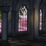 Magic window in a fantasy setting. 3D rendering of a fantasy theme for background usage royalty free illustration