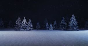Free Magic Winter Forest With Illuminated Trees Front Stock Images - 129835494