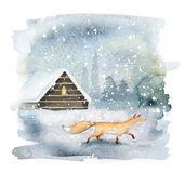 Magic winter landscape with fox. Hand drawn watercolor image with fox and cozy log cabin on winter background stock illustration