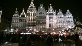 Magic winter nights. Grote Markt, Antwerp, Belgium Stock Photos