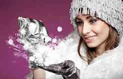 Magic winter woman Stock Photos
