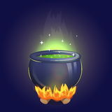 Magic witch alchemy cauldron on fire Royalty Free Stock Images
