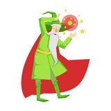Magic witch wizard in action with crystal ball. Colorful fairy tale character Stock Photos