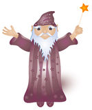 Magic Wizard. Wizard holding a magic wand over a white background Stock Images