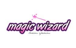 magic wizard word text logo icon design concept idea Stock Photos