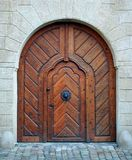 Magic woden doorway. Antique medieval wooden door: concept for entry, gateway, etc Royalty Free Stock Images
