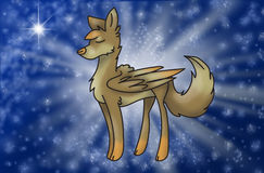Magic wolf with wings in universe Royalty Free Stock Photo