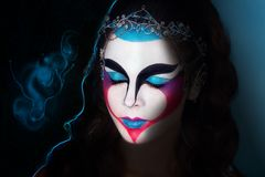 Magic Woman concept. Magic Woman Face art Portrait of the magician with geometrical face art. Photo with big free dark space, area, place for text, your Royalty Free Stock Photography