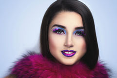 Magic Woman with pink fur Royalty Free Stock Images